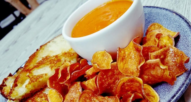 Grilled Cheese and Tomato Soup w Sweet Potato Chips